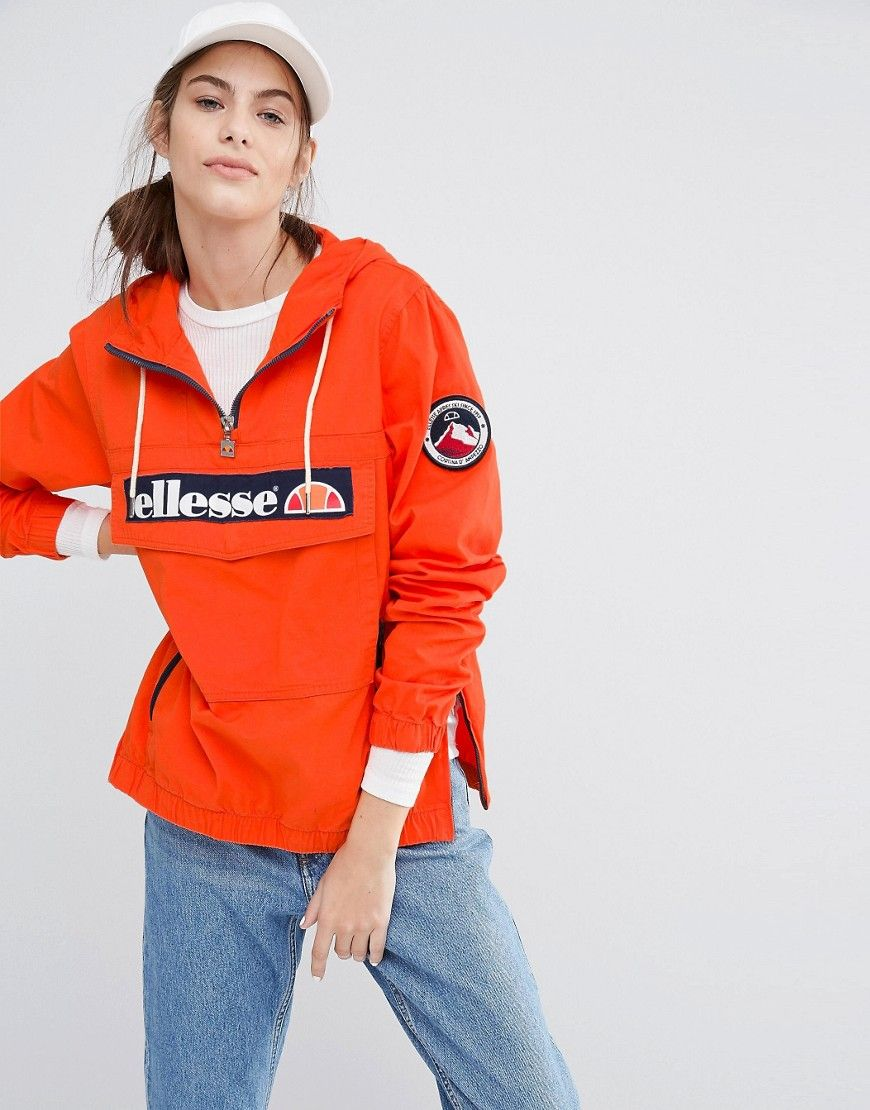 And Logo Half Pullover Jacket With Hooded Zip Ellesse On Front Ia01Yq