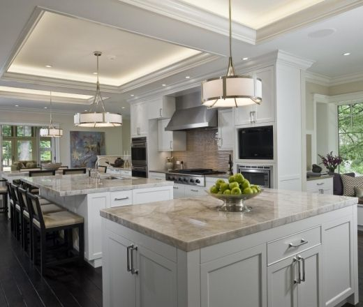 Contemporary Island Style Cream kitchen, white cabinets,