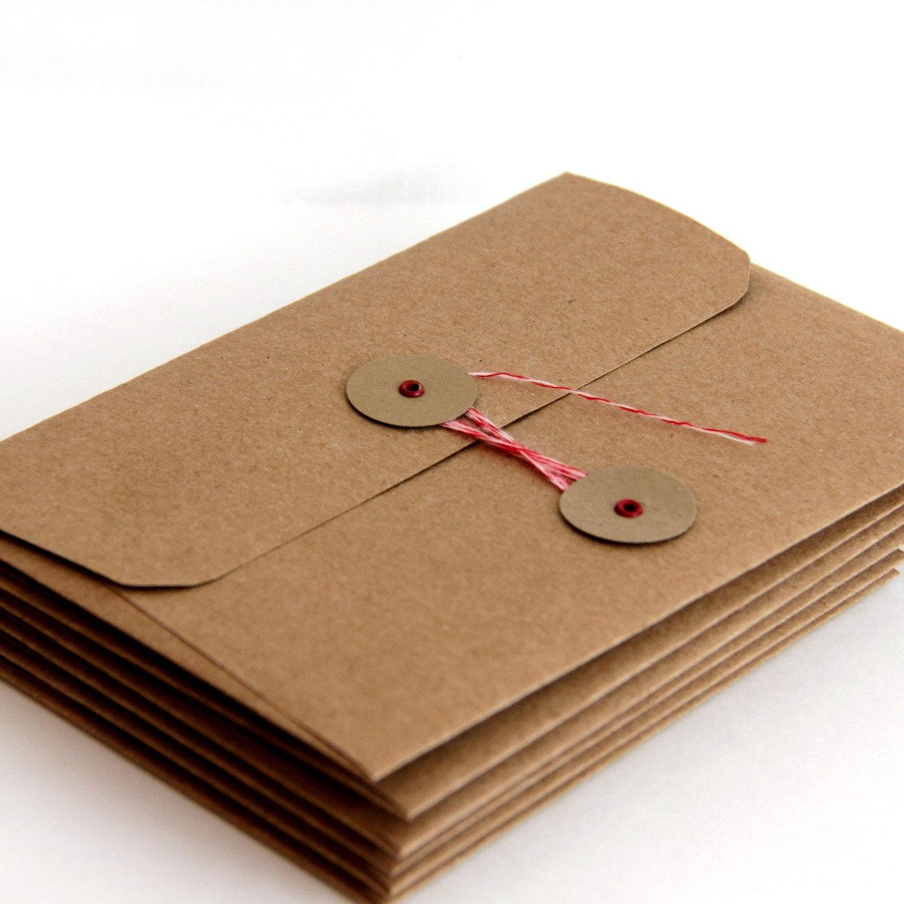 Kraft String Tie Envelopes A7 Set Of 6 For 5 X 7 Cards And Photos