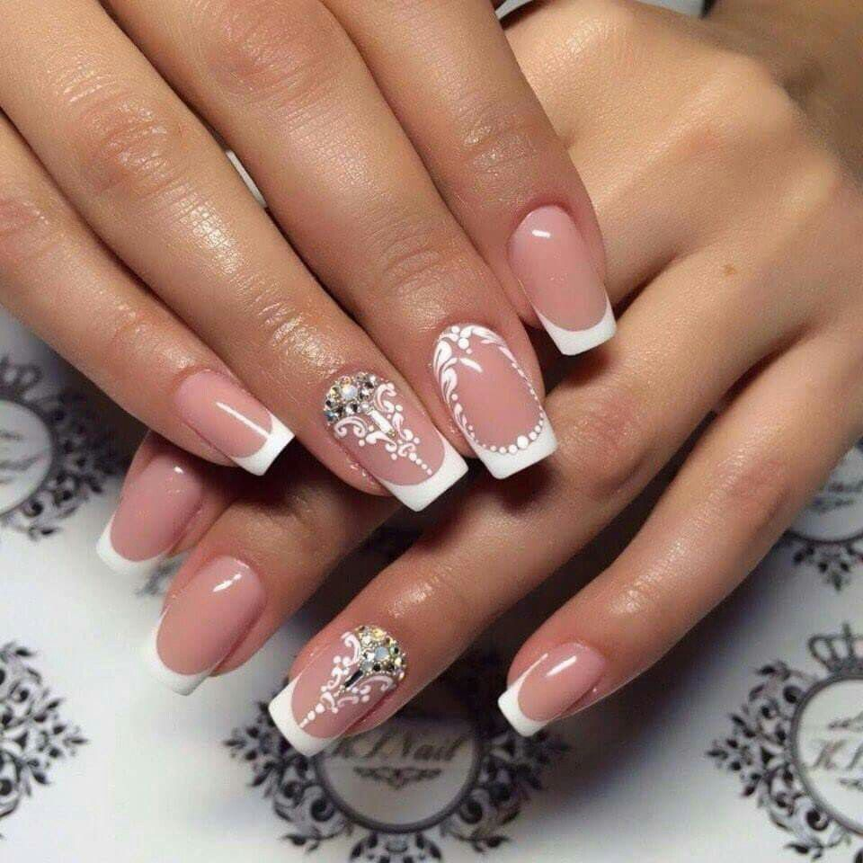 Elegant french tip nails with rhinestones and scroll work | Nails ...