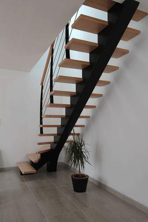 le drennec acier escalier bois un quart tournant h tre sans contremarches avec montants. Black Bedroom Furniture Sets. Home Design Ideas