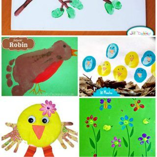 Thumbprint And Footprint Birds Crafts For Spring