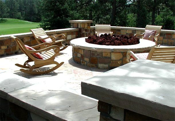 Stone Patio With Fire Pit Concrete Driveway And Entry Stamped
