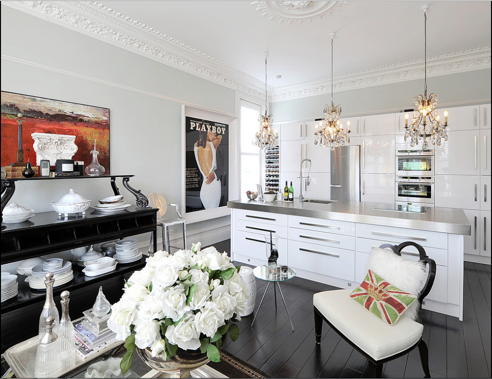 eclectic living room and kitchen.. classical mixed with modern ...