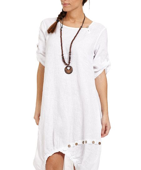 Couleur Lin White Linen Bubble Dress U0026 Necklace | Zulily