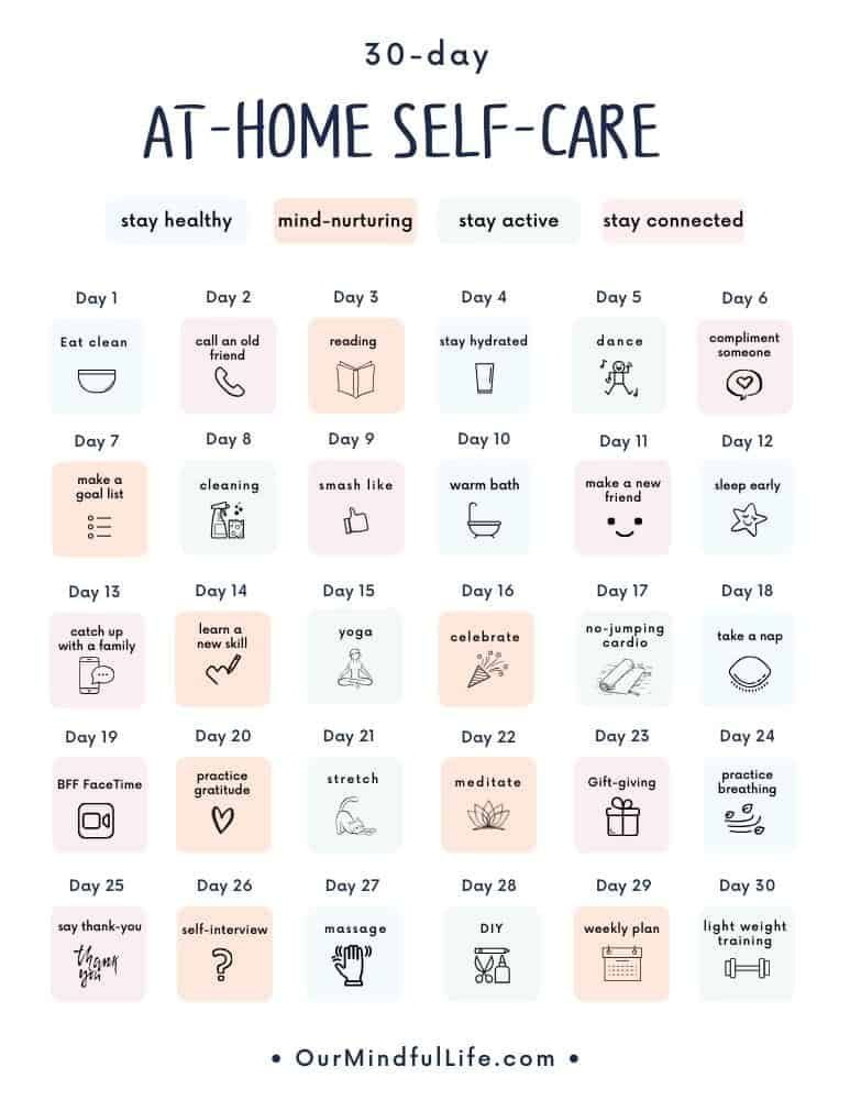 30 Day At Home Self Care Challenge Free Printable Calendar Our Mindful Life Self Care Bullet Journal Self Care Calendar Self Care Activities