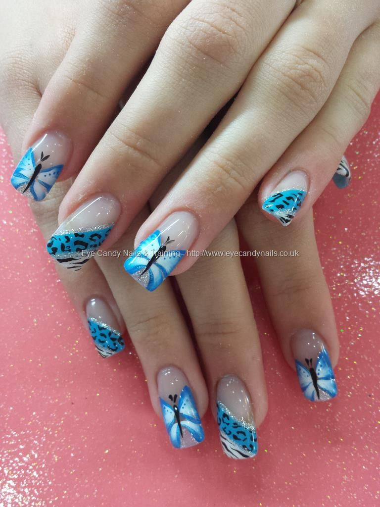 Blue one stroke butterfly nail art with animal print