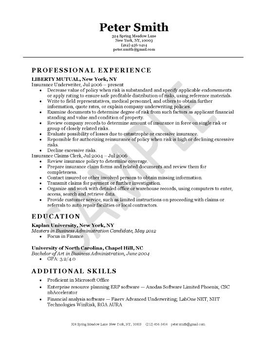 Insurance Underwriter Resume Example Pinterest Resume examples