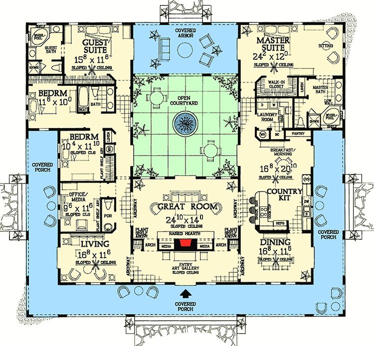 Plan 81384w Open Courtyard Dream Home Plan Pool House Plans Mediterranean House Plans Courtyard House Plans