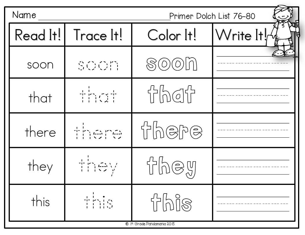 Dolch Sight Words Read Trace Color Write Literacy