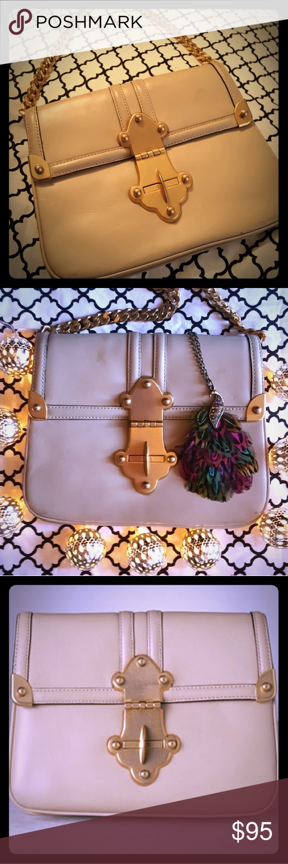 Tracy Reese Gold Chain And Leather Handbag