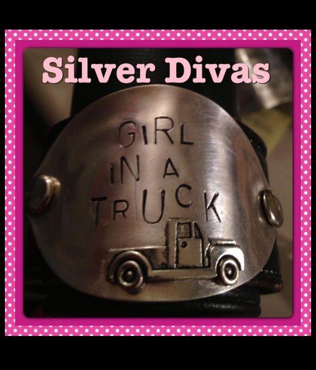Girl in a truck stamped cuff bracelet $35 Facebook.com/silverdivas