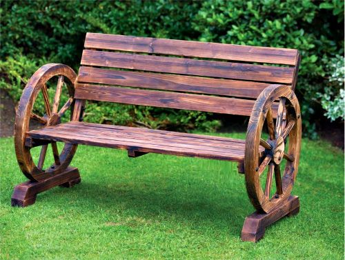 Rustic Style Wooden Garden Bench 2 Seater Patio Chair Burnt Wood ...