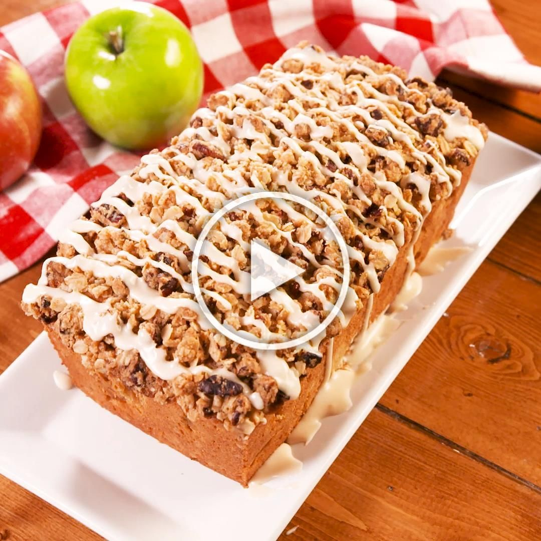 A pound cake is perfect in its own way and we love them year round. We dressed ours up to match the fall season with crisp apples and a buttery crumb topping that youll want to put over everything. Drizzle the top with a simple glaze to top off this perfect dessert. Get the recipe at Delish.com. #delish #easy #recipe #moist #cinnamon #brownsugar #toppings #applecrisp #cake #apple #fallrecipes