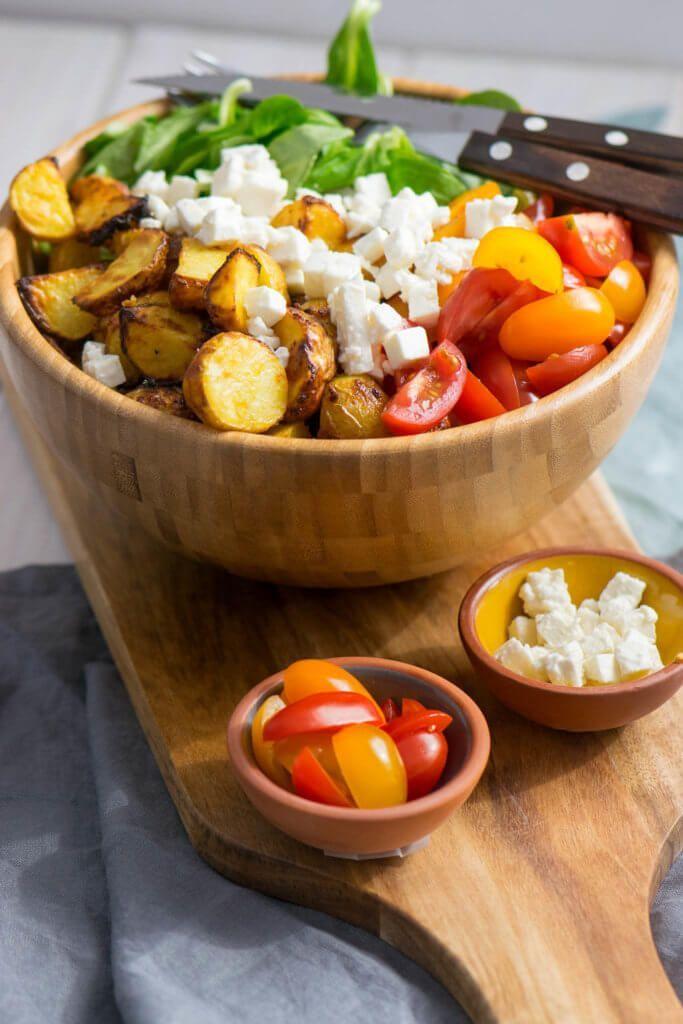 Honig Senf Röstkartoffel Salat mit Feta und Tomaten #potatosalad