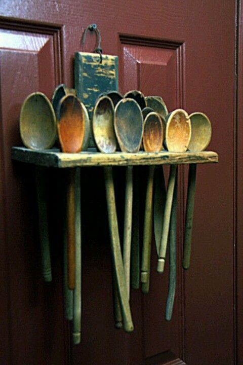 "Wooden spoons--this is a funny front door ""wreath"" (or better yet, a pantry door!)"