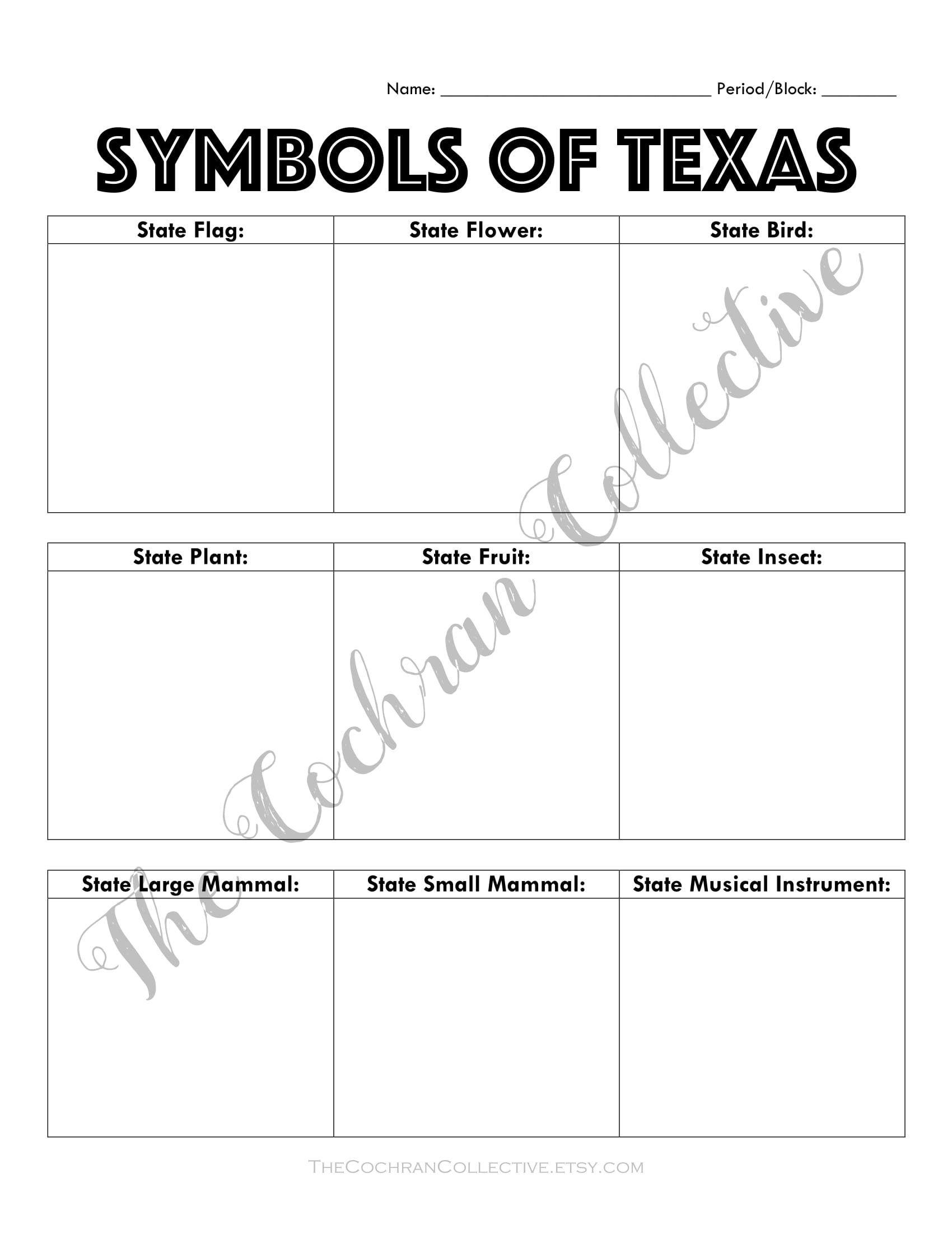 Texas State Symbols Worksheet Printable Texas History