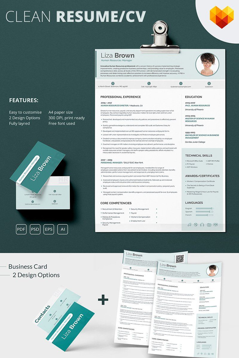 Liza Brown Human Resources Manager Resume Template in