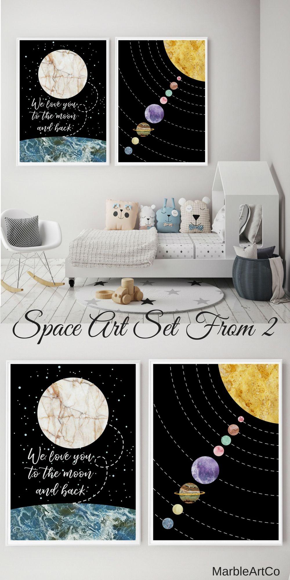 Space Framed Art Sets Of 2, Unique Baby Shower Gifts, Nursery Set ...