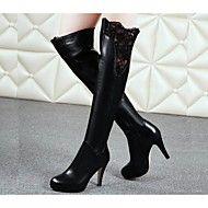 Mujer-Tacón+Stiletto-Botas+a+la+Moda-Botas-Exterior-Cuero-Negro+–+CLP+$+84.434