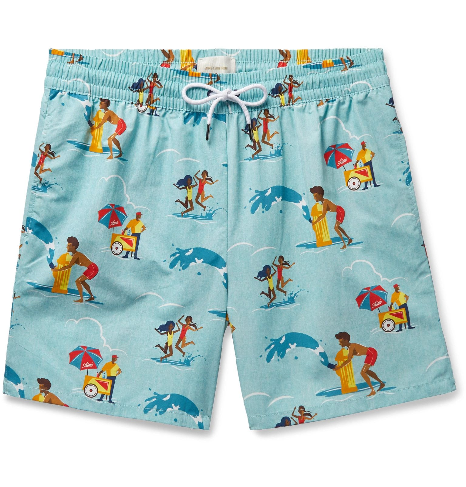 Starfish Teal Mens Beach Shorts Casual Surfing Trunks with 3 Pockets