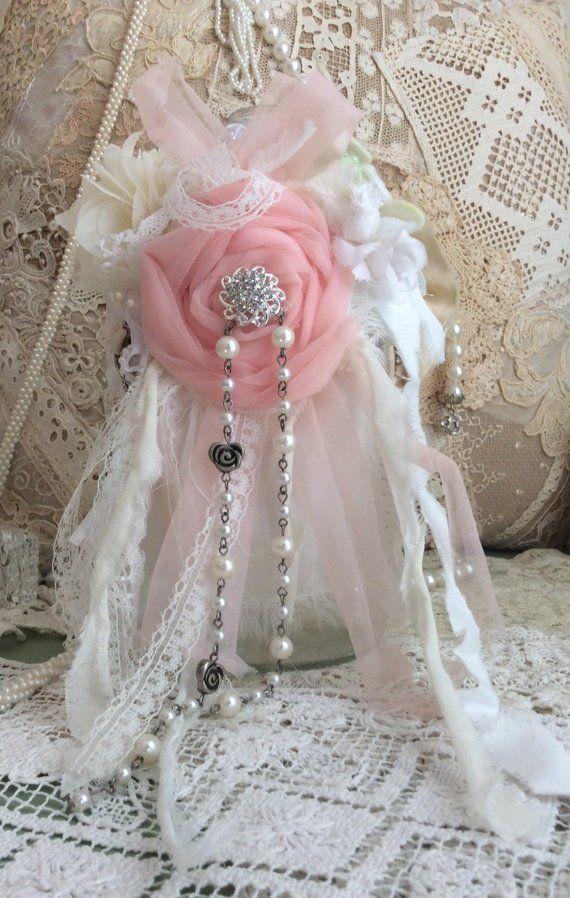 Altered bottle, altered decorated bottle,shabby chic bottle, shabby decor, handmade pink flower and
