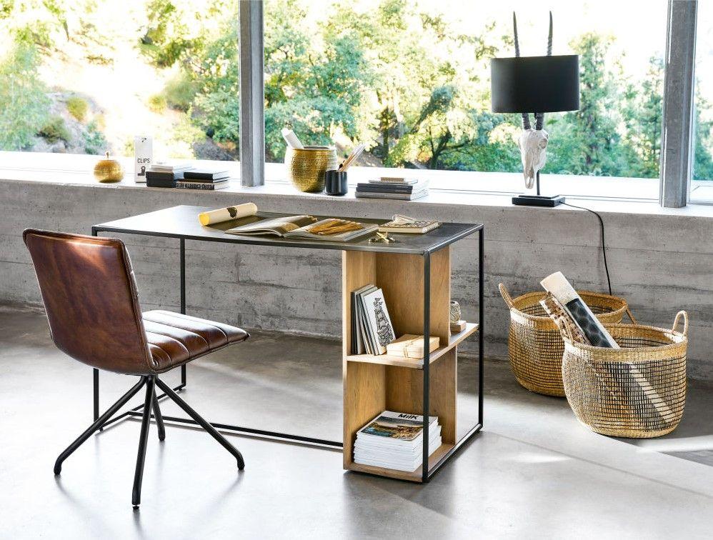 Bureau wayampi en métal noir et manguier massif meubles pas cher
