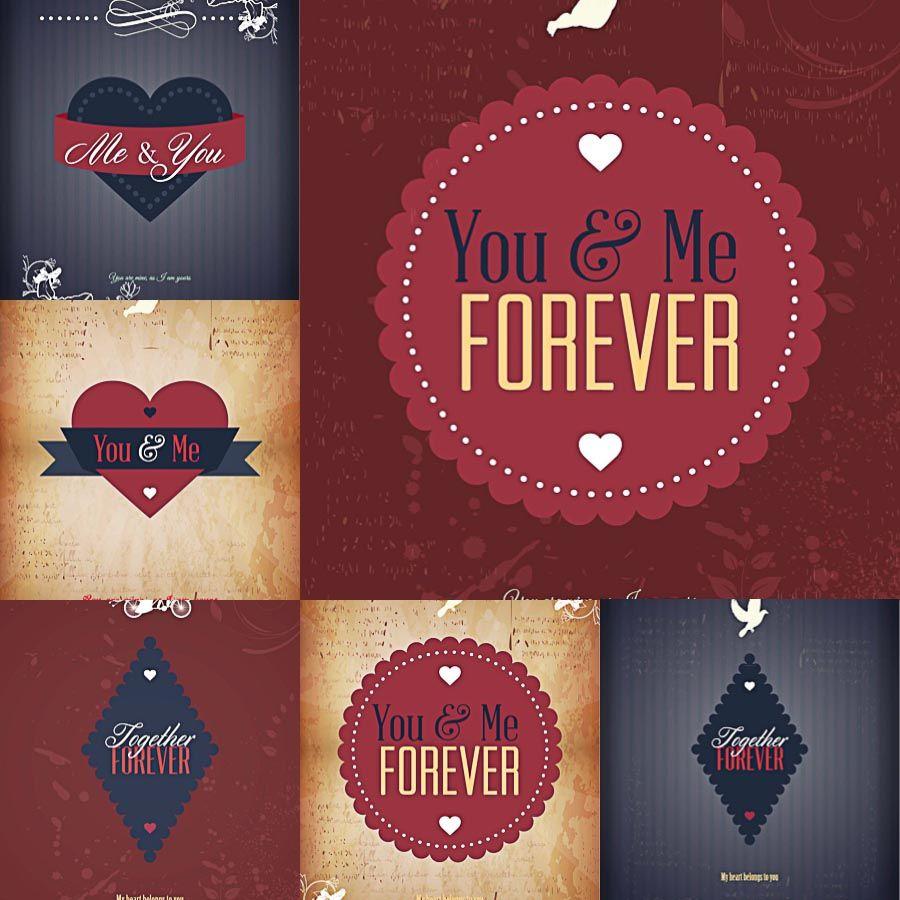 Retro ribbons and badges Valentineu0027s Day set