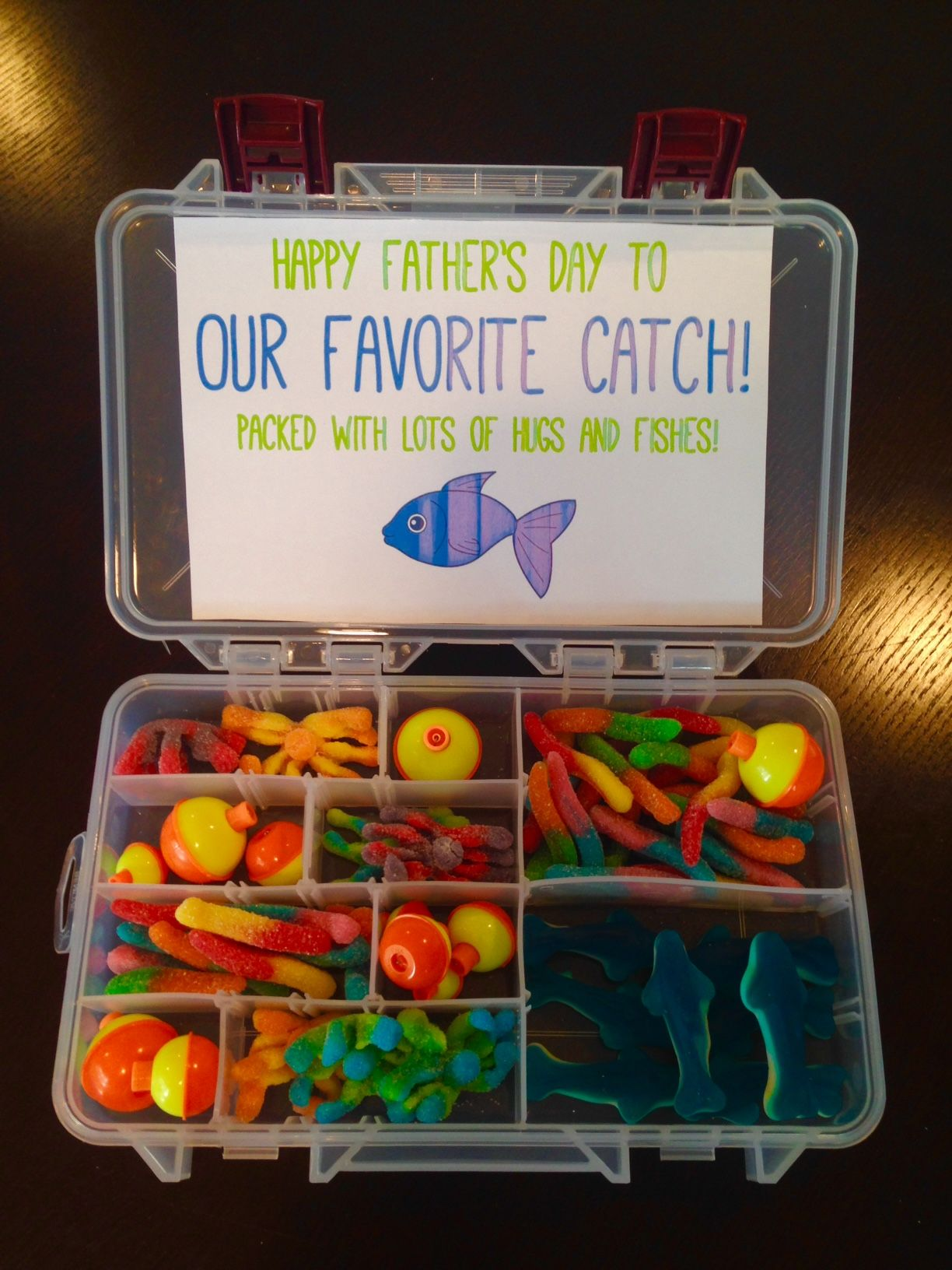 Father 39 s day favorite catch tackle box gift super dad for Fishing gifts for dad