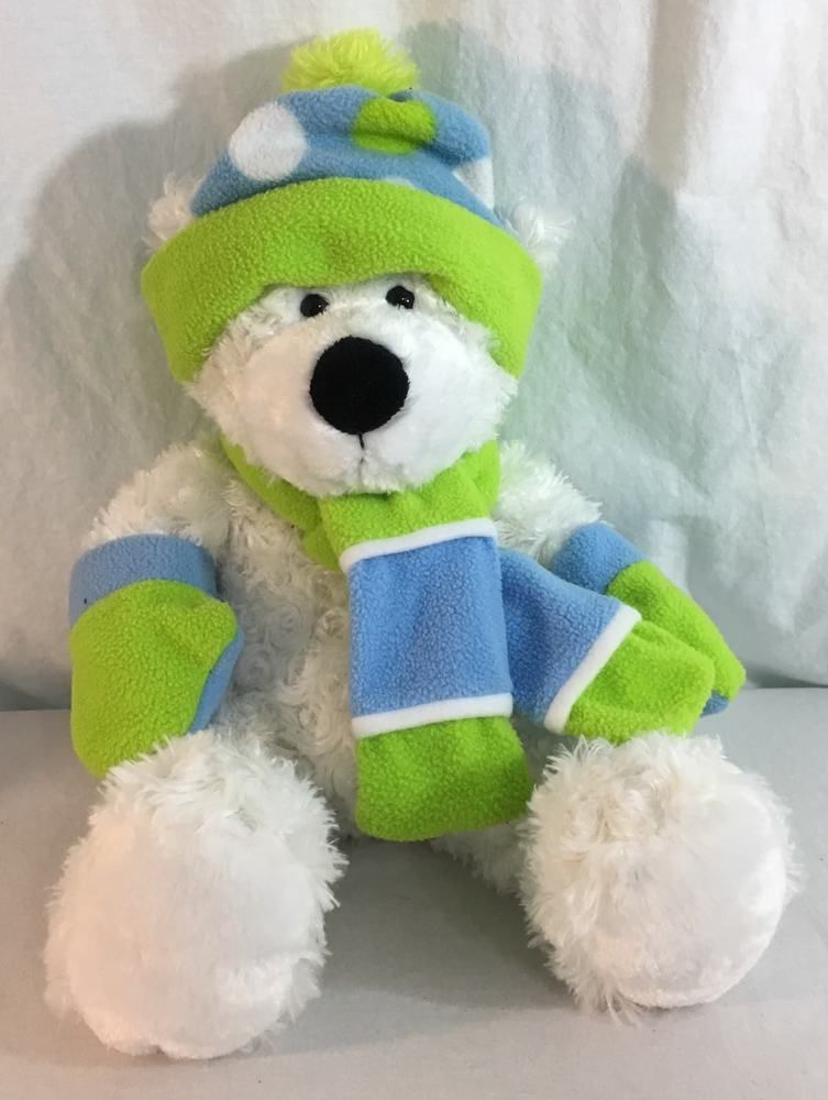 Hug fun Plush White Teddy Bear Winter Blue Green Hat and Scarf 18 inches   HugfunInternational c6d6338240ec