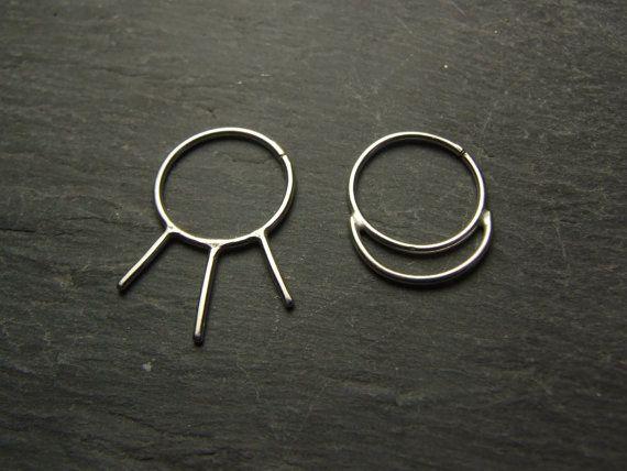 Sun & Moon ~ Asymmetrical PAIR of Hoops ~ Handmade, Artisan, Sterling Silver 925 ~ Nose, helix, septum, conch, nipple, tragus, labret etc