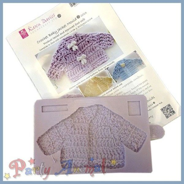 Karen Davies - Crochet jacket silicone mould - perfect for Babies Birthdays and Christening cakes. cake decorating and sugarcraft.