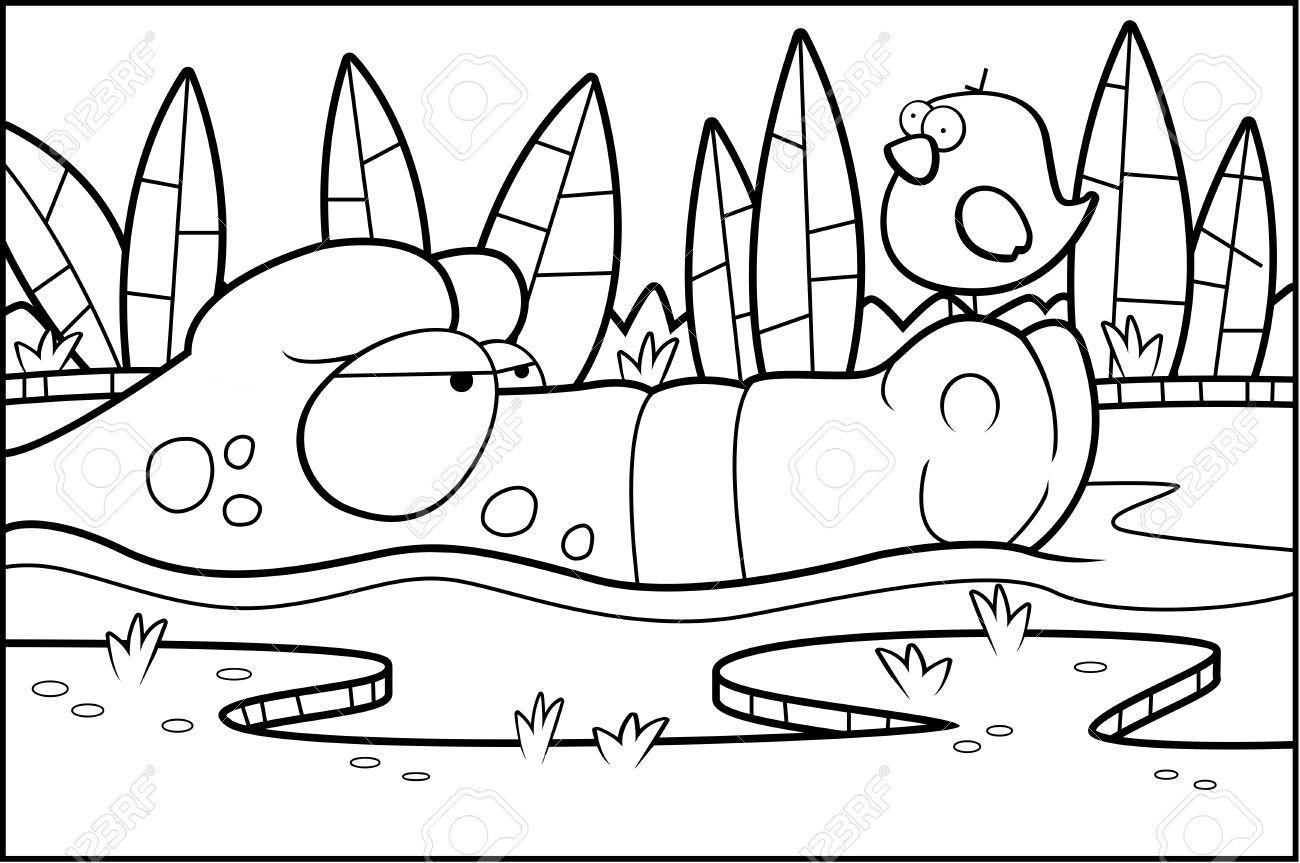 A Cartoon Alligator In A Swamp With A Bird