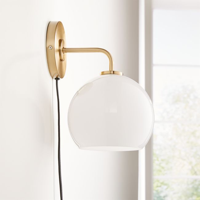 Arren Brass Wall Sconce with Milk Round Shade + Reviews | Crate and Barrel