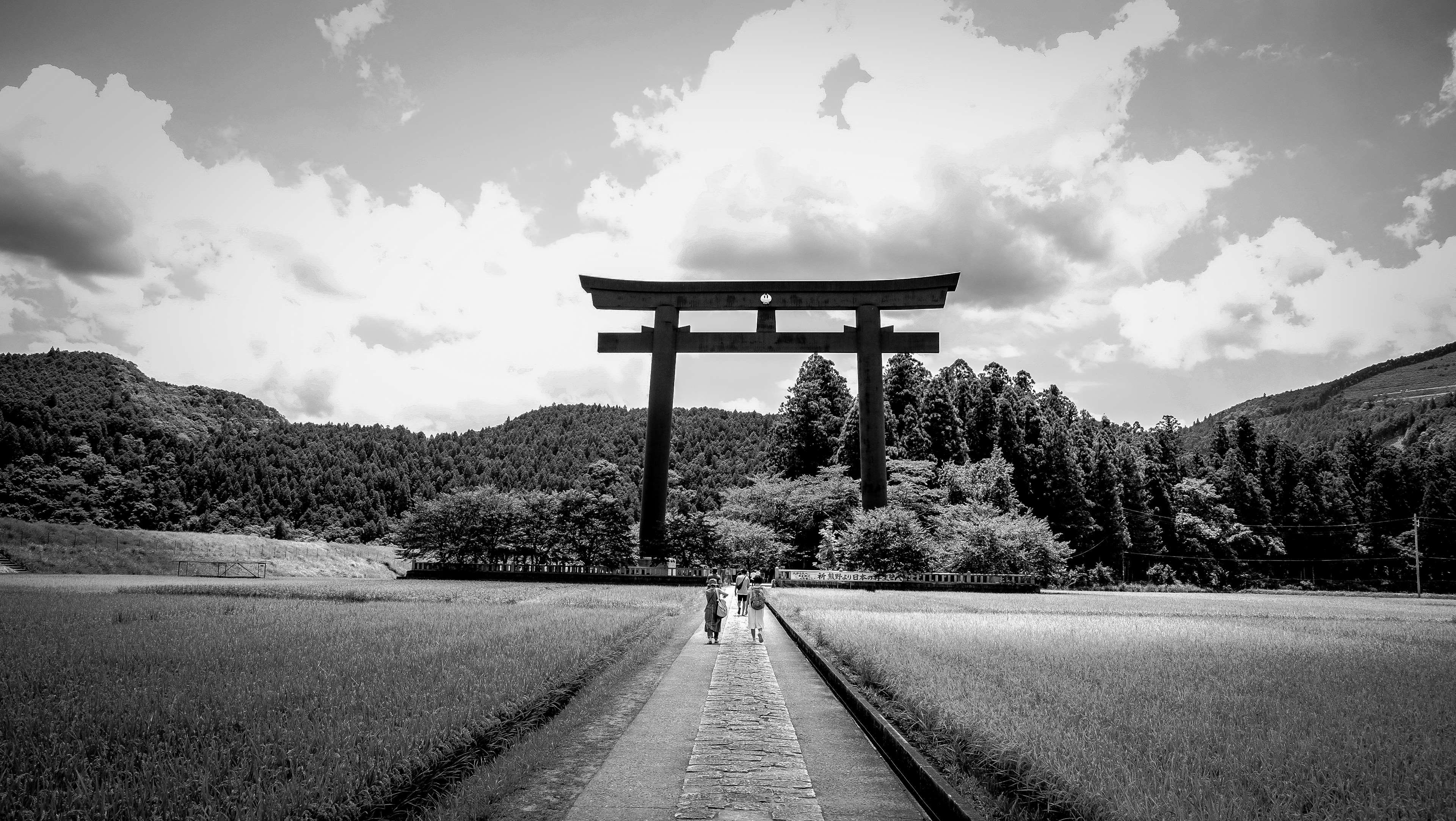 Agriculture black and white countryside culture farm field grass japan japanese landscape outdoors people rural shrine trees