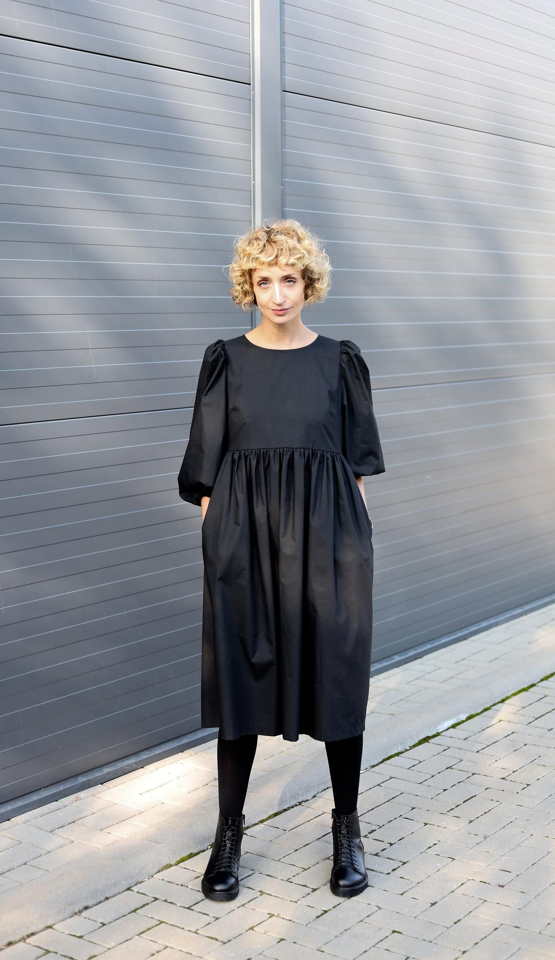 Puffy Sleeve Dress Empire Waist Black Cotton Poplin Dress Etsy Balloon Sleeve Dress Poplin Dress Dresses With Sleeves [ 1971 x 1140 Pixel ]