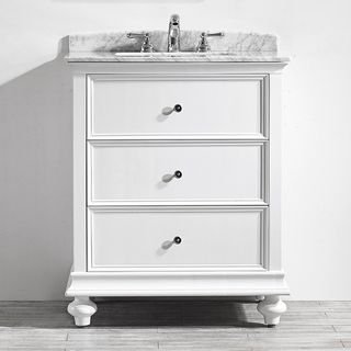 venice 30 inch single vanity in white with carrara white marble top rh pinterest com