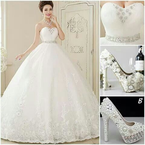 Wedding dress and beautiful shoes.