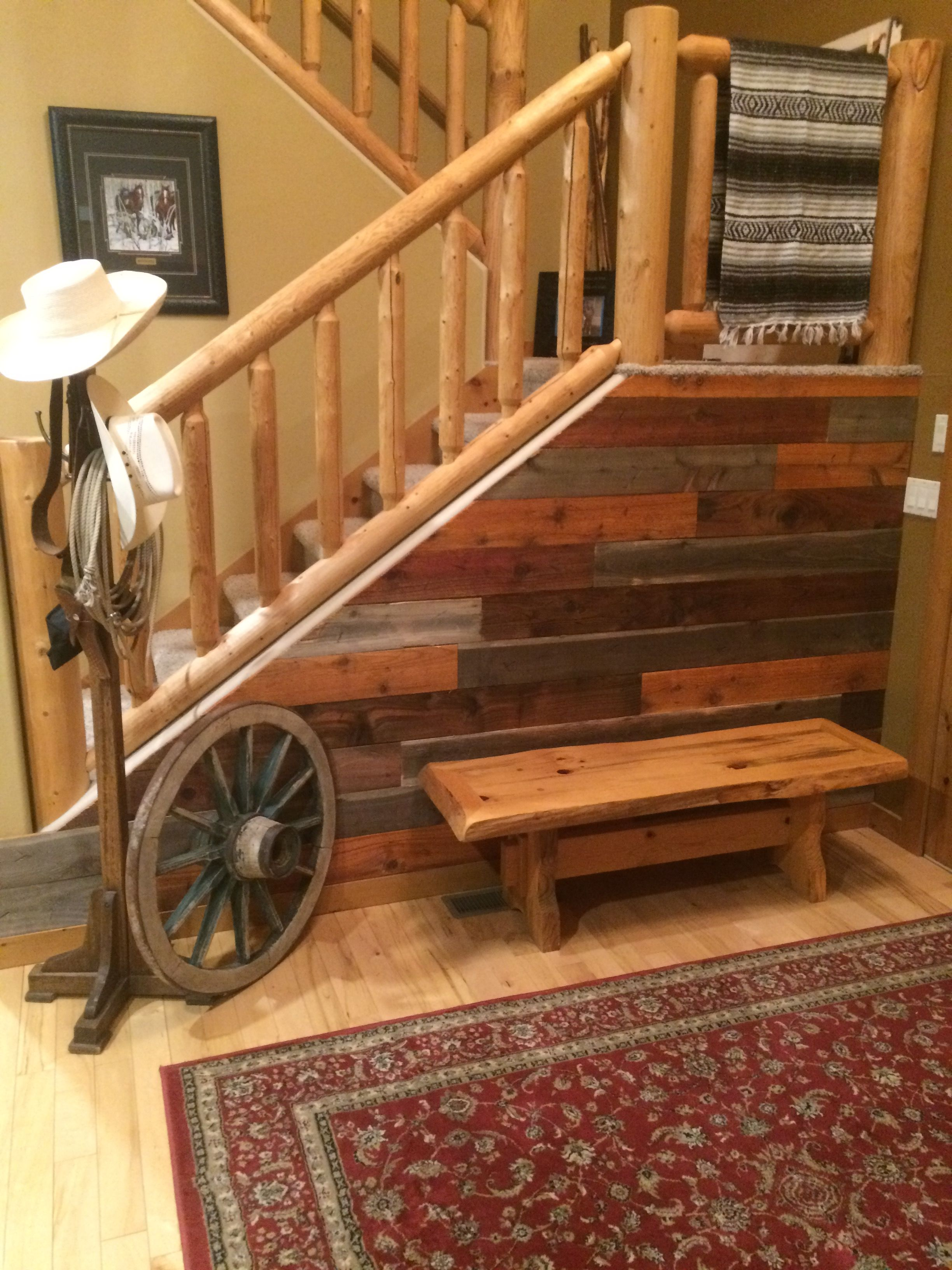 Barnwood staircase entry wall very easy and inexpensive