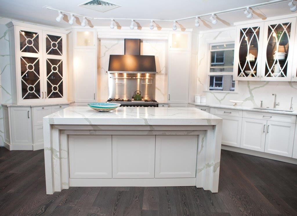 Bq8270 calacatta kitchen vicostone quartz surfaces for How to care for carrara marble countertops