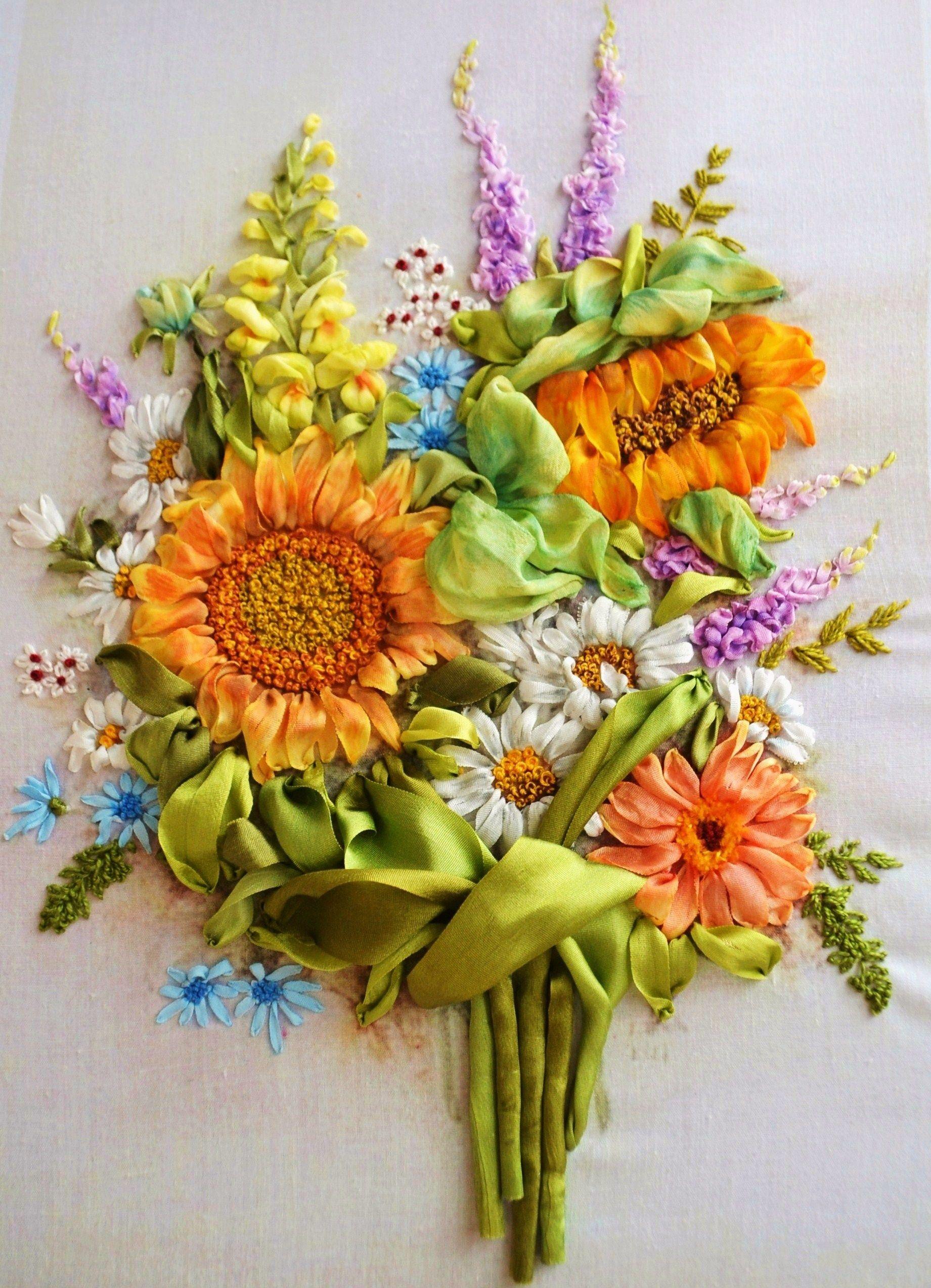 Ribbon art embroidery flowers sunflowers cintas pinterest