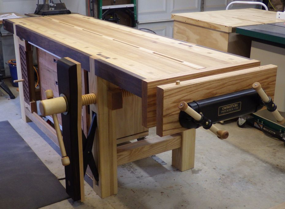 Split Top Roubo With A Veritas Twin Screw End Vice Woodworking Bench Workbench Woodworking Workbench