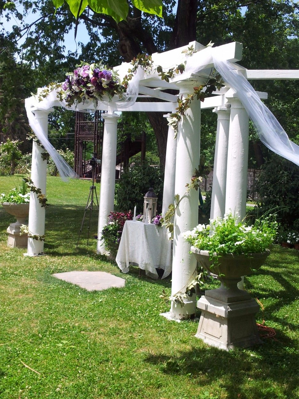 White Vinyl Pergola Will Arbor With White Fabric Wedding Canopy And White Fabric Table Cloth Plus & White Vinyl Pergola Will Arbor With White Fabric Wedding Canopy ...