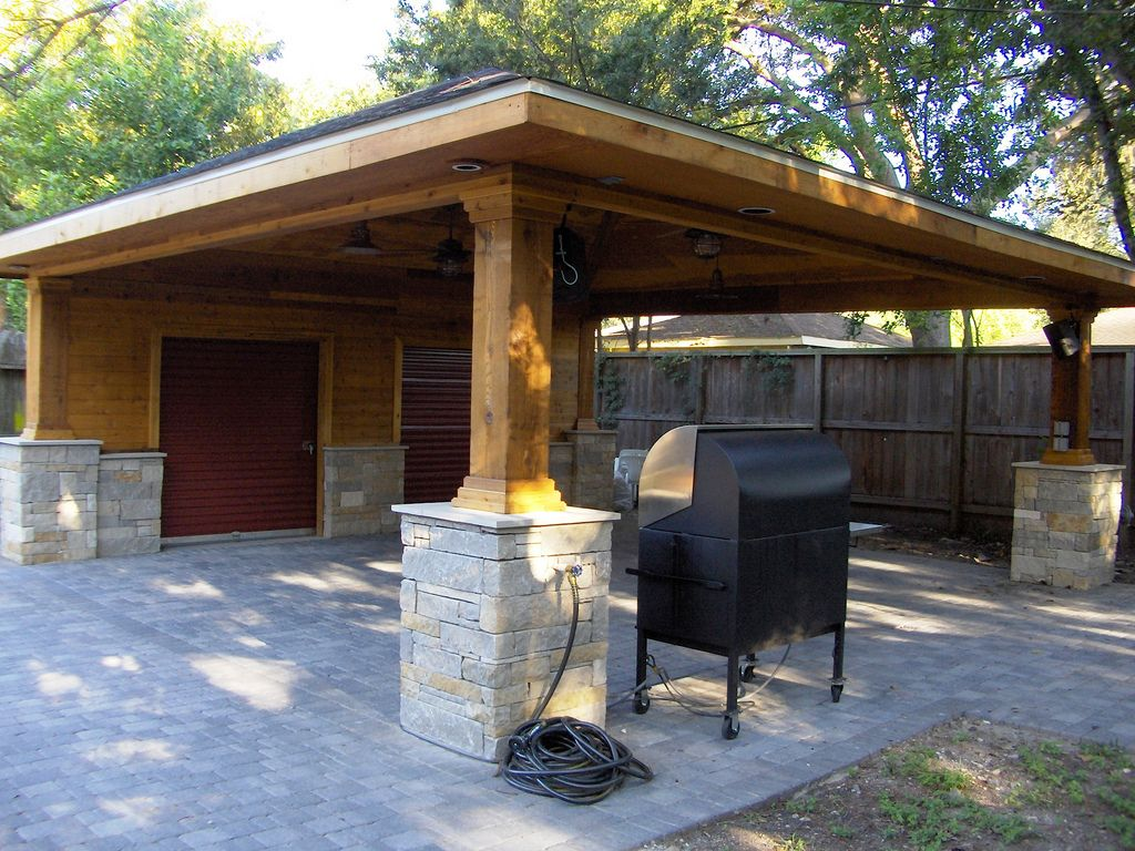 Paver driveway with carport and storage 5 driveways for Backyard carport designs