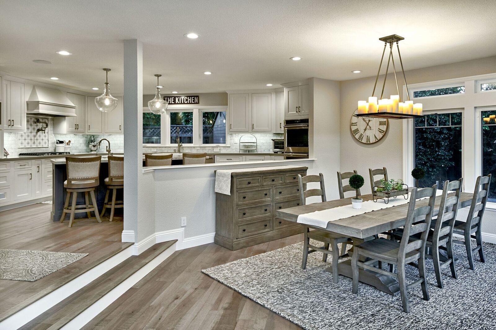 view from family room into kitchen open floor plan omega white rh pinterest com