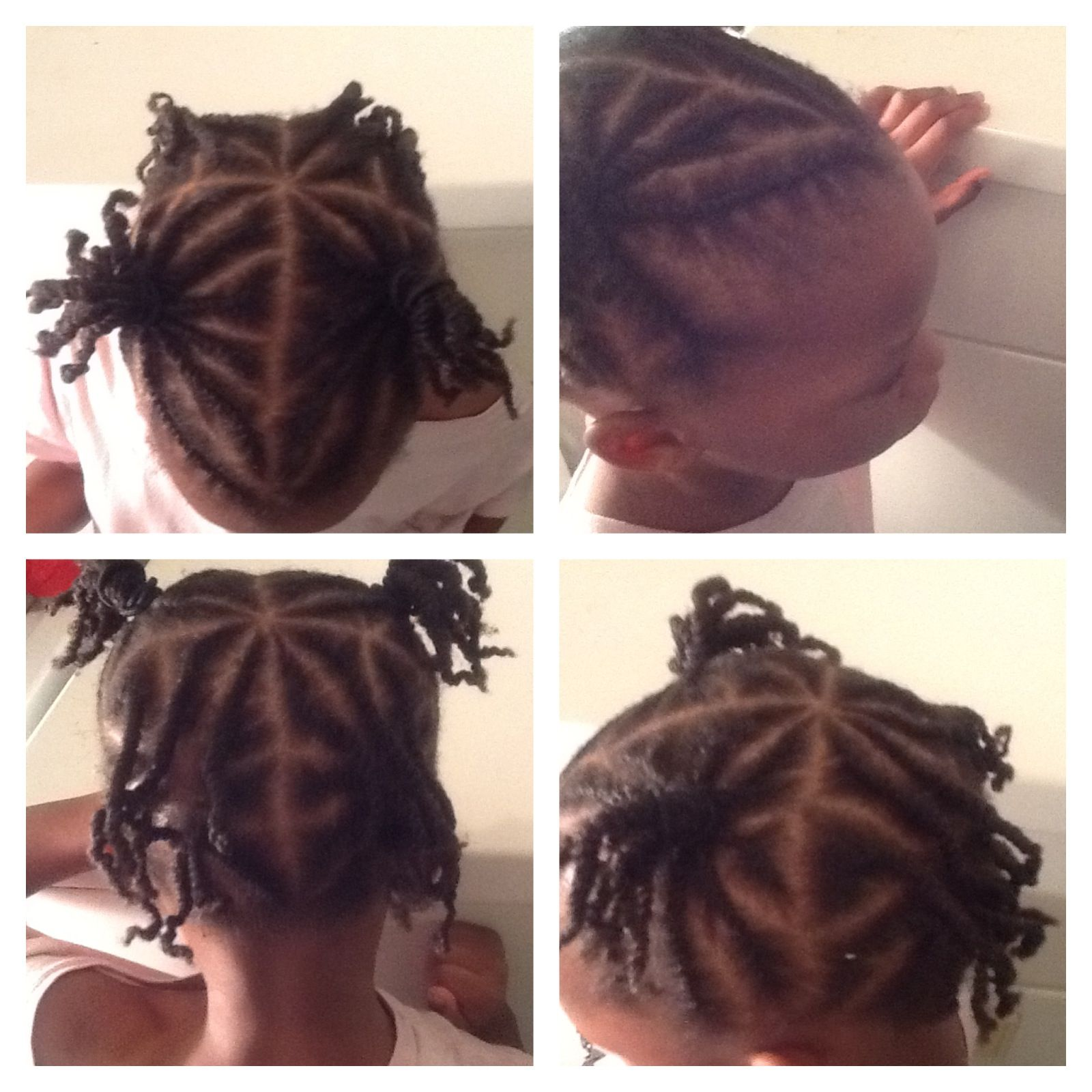 Flat twist for protective little girl hair style on 4c natural hair