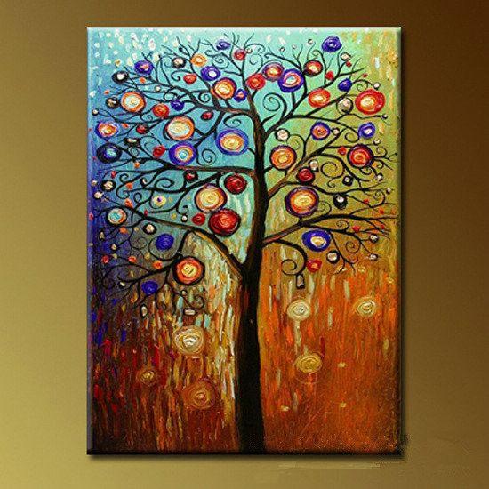 Pintado a mano aceite de cuadros pachira macrocarpa con - Ideas para pintar cuadros ...