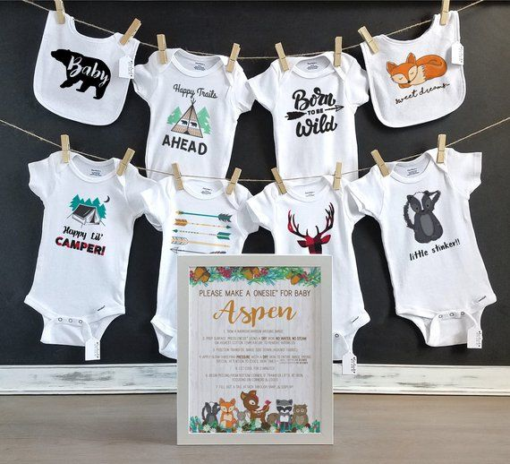 45a709b96 Woodland Creatures Onesie Decorating Kit/ Personalized Sign/ DIY Baby  Shower Kit/ Onesie Decorating