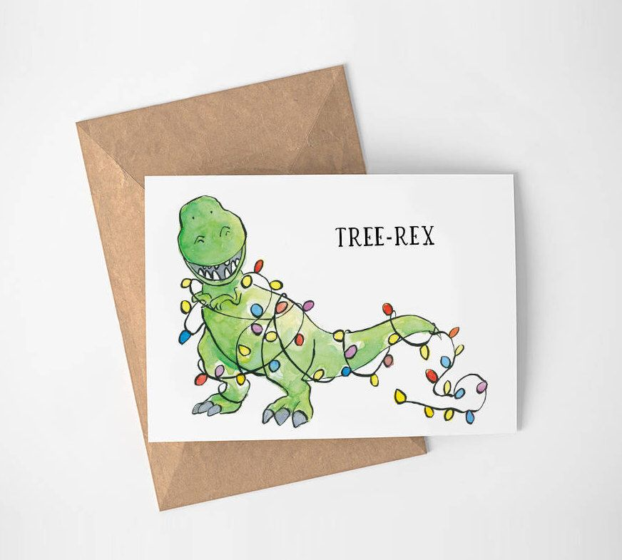 Digital Download Christmas Card | Watercolor | Holiday Card | Dinosaur | Tree-Rex | Printable downloadable pun Funny Xmas Card tree rex card