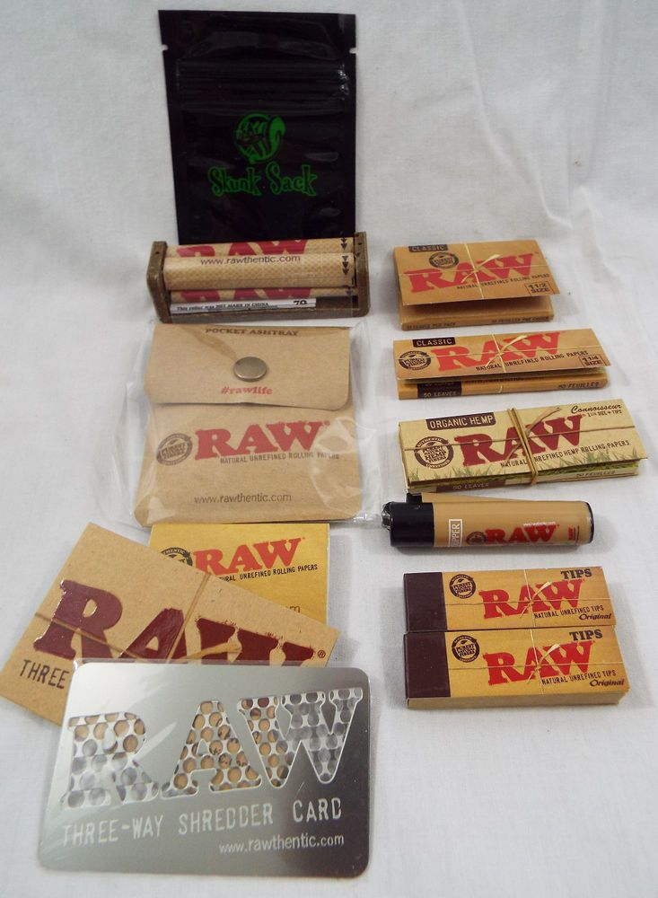 Raw Brand Set 11 Piece Set Papers Tips Roller Shredder Ash Tray Odor Bag 15 Rolling Paper Piecings Paper
